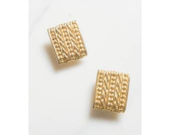 Gold Earrings . 1980s Earrings . Statement Jewelry