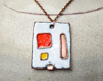 Abstract geometric pendant Cloisonne enamel pendant Enameled Copper Necklace Metalwork Jewelry Measures approximately 40 mm by 35 mm