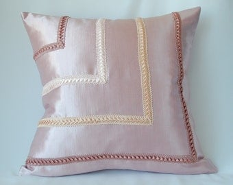 Pink with wide braid throw pillow cover decorative cushion 16x16 Throw pillow  Couch Pillow