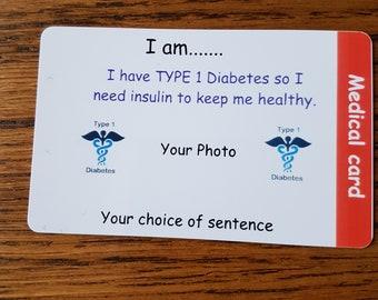 Medical diabetes emergency card