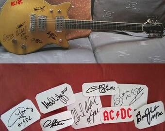 AC/DC autographs vinyl stickers  Angus Young, Malcolm Young, Chris Slade, Brian Johnson, Bon Scott, Сliff Williams, Phil Rudd Set 8