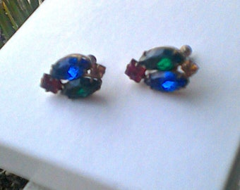 Vintage Oval Shaped Four  Primary Colored Rhinestones Screw Back Earrings