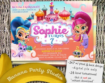 Shimmer and Shine Invitation, Shimmer and Shine Birthday, Shimmer and Shine Party, Shimmer and Shine Invite, Shimmer and Shine Digital Evite