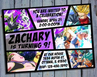 Dragon Ball Z Invitation, Dragon Ball Fighterz Birthday, Goku Xenoverse Party Invites, Card Printables, Printable Personalized Invite