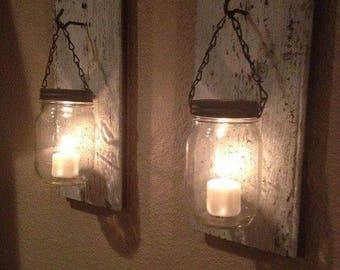 Set of 2 Mason Jar votive holders