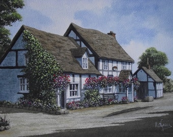 Original Watercolour  Painting of The Rose and Crown English  Country Pub at Severn Stoke  England