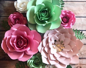 Boho 8 flowers set of paper flowers for nursery, room decor, baby shower backdrop,