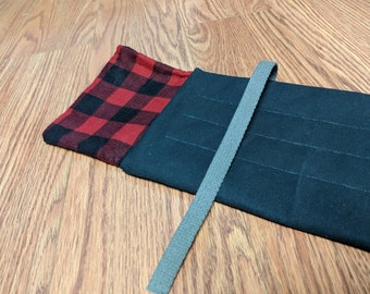 Canvas rod wrap with Buffalo Check flannel lining