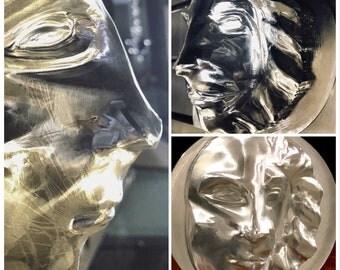 Half Man / Half Lion Face Sculpture Metal Art