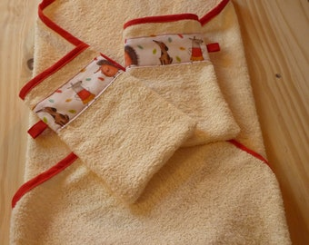 Hooded towel and its two Washcloths matched, bath, baby, child