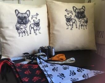 French bulldog pair of cushion covers