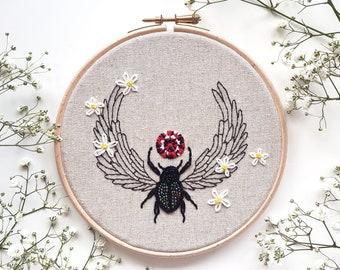ORIGINAL Handmade Beetle Jewel Contemporary Embroidery Hoop Art (Modern Hand Embroidery Wall Hanging / Wall Art - Small)