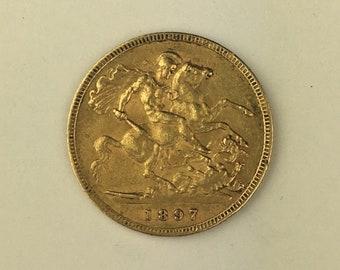 1897 Victoria Gold Half Sovereign