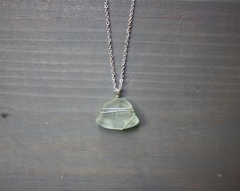 Wire wrapped aqua sea glass necklace