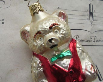 Vintage Christmas Ornament Inge Glass Teddy Bear In Vest Hand Blown Glass Germany  Box B