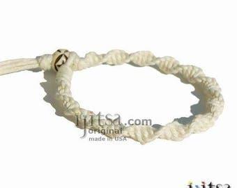 White Ultra Soft Hemp Twisted Surfer Bracelet or Anklet