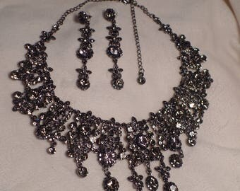 "Impressive Necklace and Earrings Set with ""Black Diamond"" Rhinestones"