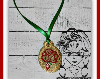 ROSE Princess PENDaNT NECKLaCE 4 Holidays Birthday ~ In the Hoop ~ Downloadable DiGiTaL Machine Embroidery Design by Carrie
