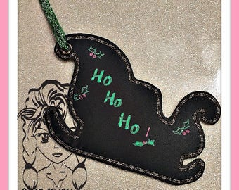 SLEIGH SaNTA ORNaMENT GiFT TaG Present Tag Chalk Fabric Tag ~ In the Hoop ~ Downloadable DiGiTaL Machine Embroidery Design by Carrie