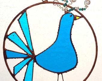 Whimsical Peacock Blue Bird