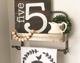 "Family Number Rustic Wooden Sign, Farmhouse, Your Choice in Number, Wood Sign, 11x12"", Cottage, Shabby Chic, Farmstyle, Magnolia Market"