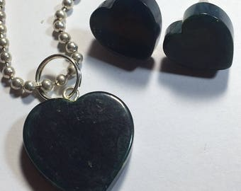 Small Marbled Blue Bakelite Heart Earrings and Necklace Set
