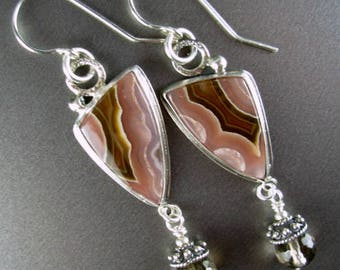 Agua nueva nodular agate cabachon, smokey quartz Bali beads sterling silver wire dangle earring Chelle' Rawlsky gift boxed layaway availabl