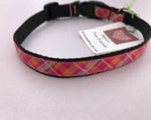Bright Pink Plaid Pattern 1/2 Inch Dog Collar