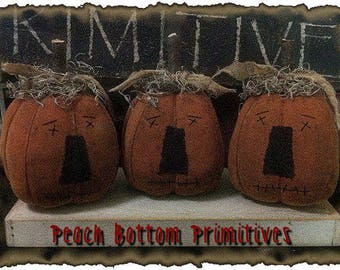 MAILED PAPER PATTERN~Primitive Fall/Halloween Lil Pumpkin Jack o Lantern Fellas