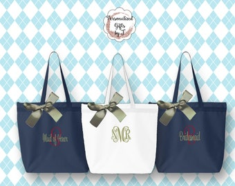 Personalized Zippered Tote Bag Bridesmaid Gift, Embroidered Tote, Monogrammed Tote, Bridal Party Gift