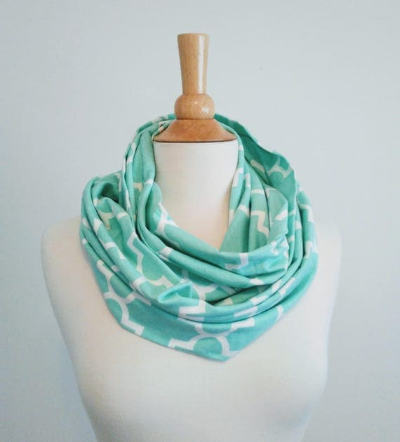 Aqua infinity scarf mint and white quatrafoil print scarf women's scarves cotton jersey gift for her fall fashion accessory spring scarf