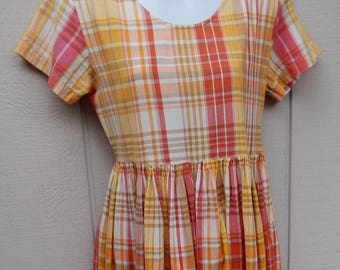 80s Vintage Orange & Yellow Plaid Smock Dress by Fads / Empire Waist Country frock Picnic // Size OVS Sml - Med