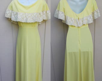 Vintage 70s Yellow Maxi Dress with Flutter Cape Neckline / Long Full Length Boho Hippie Dress // sz sml - Med