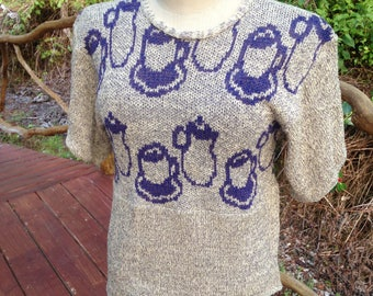 Tea cups Knit summer top, teacups on Small Medium oversize sweater, cotton cream and purple pullover, gift for her, OOAK short sleeve top