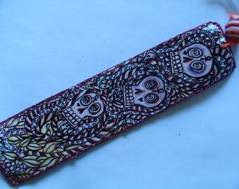 Skull Snake and Psychedelic Leaf Goddess Bookmark Pen Colored Pencil