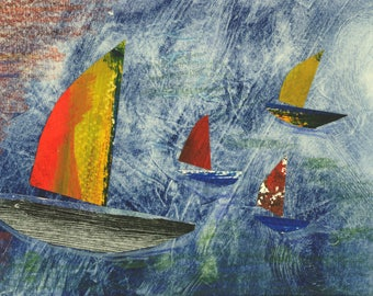 Sail - small mixed media collage of sailboats with brightly coloured sails in a blue sea.