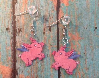 Handcrafted Plastic Flying Pig Earrings Bacon Fest