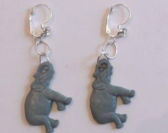 Elephant Dangle Earrings Rhinestone Accent OOAK