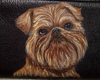 Brussels Griffon Dog Custom Painted Ladies Leather Wallet