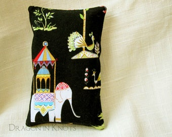 Pocket Tissue Holder - Indian Elephant on Black Cotton Travel Tissue Cover, Colorful Accessory for Backpack or Purse