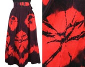 Vintage 70s Tie Dye Corduroy Skirt Small Midi Maxi Purple Red Extra Small XS POCKETS