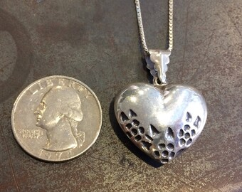 Floral puff heart pendant, hollow sterling silver