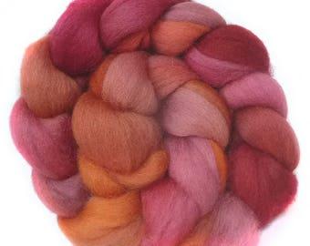 Shetland handdyed wool roving top spinning or felting fiber 3.5 oz