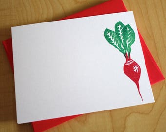 Radish Stationery - Vegetable Note Cards - Veggie Stationery - Radish Flat Note Stationery - Hand Printed - Set of 6