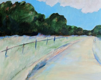 Landscape Painting Original Oil Painting 12x12 inches oil on panel Path with Oaks Summer Day
