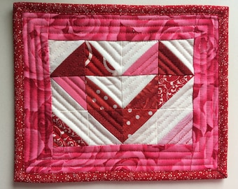 Modern Romance Valentine Mug Rug, Pink and Red Heart, Small Quilt, Quilted Mug Rug, Mini Quilt, Small Gift, Coaster, 6 1/4 x 7 1/2 inches