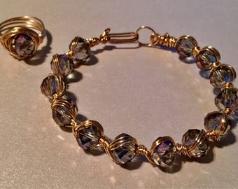 Smokey Topaz Handcrafted Beaded Gold Wire Weapped Bracelet And Ring Set