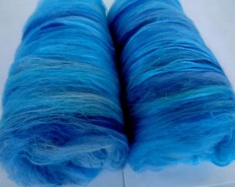 3.5oz spinning batts, merino silk, batts for felting, batts for spinning, felting fiber, spinning fiber, fiber batts, merino batts,blue,teal