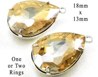 Light Colorado Topaz Glass Beads - 18x13 Teardrop or Pear - Rhinestone Jewels - 18mm x 13mm Glass Gems - Jewelry Supply - One Pair