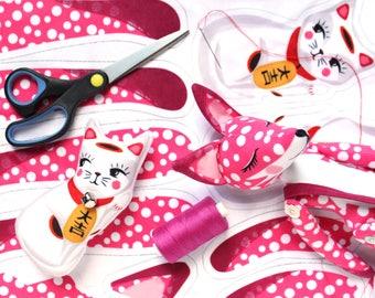 Fox and Lucky cat DIY KIT - Special edition pink polka dot - maneki neko - plush sewing kit sewing cat doll